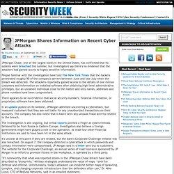 JPMorgan Shares Information on Recent Cyber Attacks