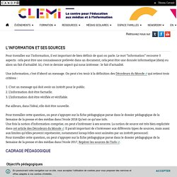 L'information et ses sources- CLEMI