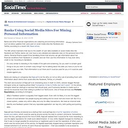 Banks Using Social Media Sites For Mining Personal Information