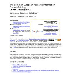 The Common European Research Information Format (CERIF) Ontology Specification