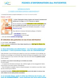 INFORMATION patients STÉRILISATION - LIGATURE DES TROMPES