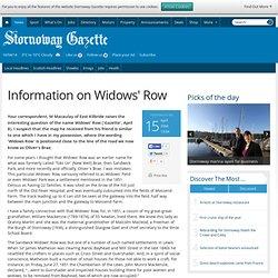 Information on Widows' Row - News