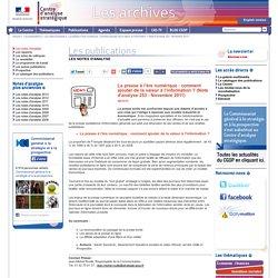 La presse à l'ère numérique : comment ajouter de la valeur à l'information ? (Note d'analyse 253 - Novembre 2011)