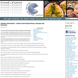 Helpful Information - Italian Food Supersitions, Sayings and Proverbs - Food and Travel