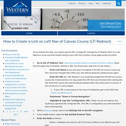 How to Create a Link on Left Nav of Canvas Course (LTI Redirect)