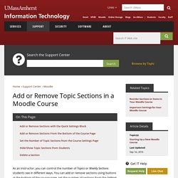 Add or Remove Topic Sections in a Moodle Course