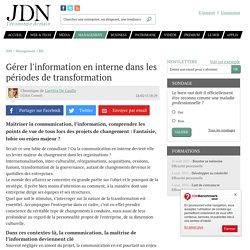 Gérer l'information en interne dans les périodes de transformation