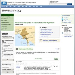 CDC - Health Information for Travelers to Burma (Myanmar)