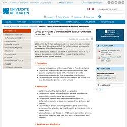 Covid 19 - Point d'information sur la poursuite des activités - Université de Toulon
