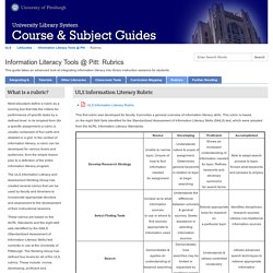 Rubrics - Information Literacy Tools @ Pitt - LibGuides at University of Pittsburgh