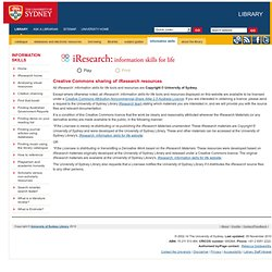 Creative Commons | iResearch: information skills for life, University of Sydney Library
