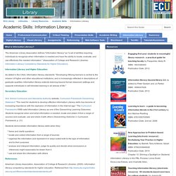 Information Literacy - Academic Skills - LibGuides at Edith Cowan University