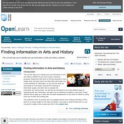 Finding information in Arts and History - Finding information in Arts and History