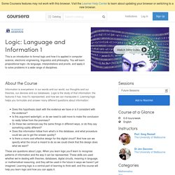 Logic: Language and Information 1