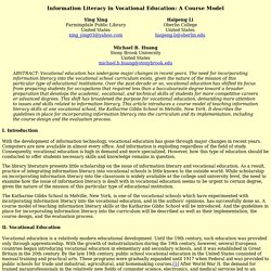 Information Literacy in Vocational Education: A Course Model