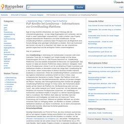 P2P-Kredite bei LendArena – Informationen zur Crowdfunding-Plattform - Finanzen Ratgeber