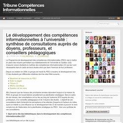 Le développement des compétences informationnelles à l'université : synthèse de consultations auprès de doyens, professeurs, et conseillers pédagogiques