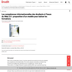 Les compétences informationnelles des étudiants... – Documentation et bibliothèques