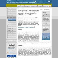 Le développement des compétences informationnelles et son intégr