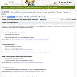 Types de sources d'information et cycle de production de l'information - CICS900 - Compétences informationnelles aux cycles supérieurs (avant l'automne 2016) - Guides at Bibliothèque Paul-Émile-Boulet - UQAC