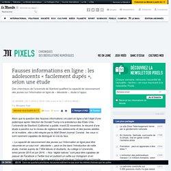 Fausses informations en ligne: les adolescents «facilement dupés», selon une étude