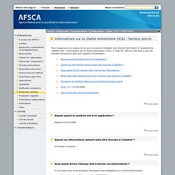 Informations sur la chaîne alimentaire (ICA) : Secteur porcin