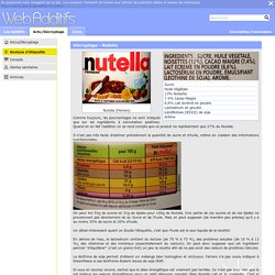 Décryptage - Nutella - Informations alimentaires