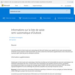 Informations sur la liste de saisie semi-automatique d'Outlook