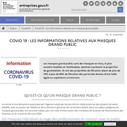 Covid 19 : Les informations relatives aux masques grand public