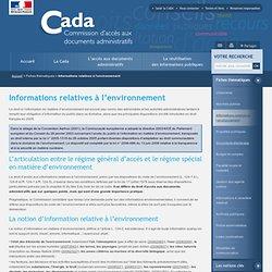 Informations relatives à l'environnement