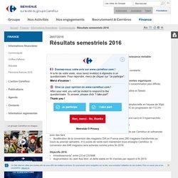 Finance > Informations financières > Communiqués > Résultats semestriels 2016