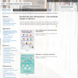 MAITRISER LA RECHERCHE D'INFORMATIONS. (Séances d'Eduaction aux Médias et à l'Information).