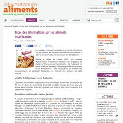 Inco, des informations sur les aliments insuffisantes