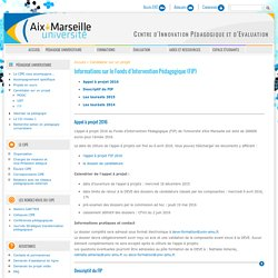 Informations sur le Fonds d'Intervention Pédagogique (FIP)