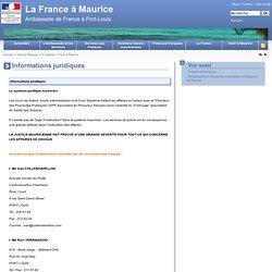 Informations juridiques - La France à Maurice