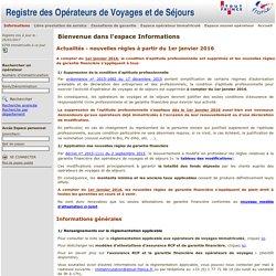 Informations - Registre des opérateurs de voyages et de séjours