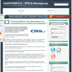 Comment effacer des informations me concernant sur un moteur de recherche ? - HADOPINFO.fr - HADOPINFO.fr