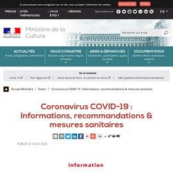 Coronavirus COVID-19 : Informations, recommandations & mesures sanitaires