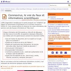 Coronavirus, le vrai du faux et informations scientifiques - Délégation Académique à l'Action Culturelle