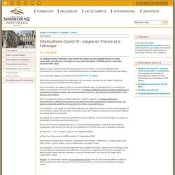 Informations Covid-19 : stages en France et à l'étranger