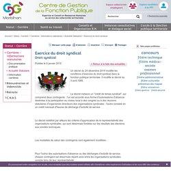 Exercice du droit syndical / Actualité Statutaire / Carrières - Informations statutaires / Statut - Carrière / Accueil - CDG56