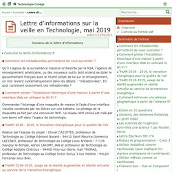 Lettre d'informations sur la veille en Technologie, mai 2019 - Technologie Collège