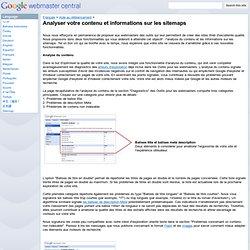 Analyser votre contenu et informations sur les sitemaps - Google Webmaster Help