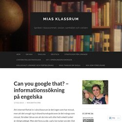Can you google that? – informationssökning på engelska