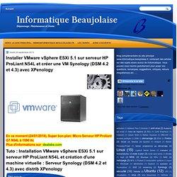 Installer VMware vSphere ESXi 5.1 sur serveur HP ProLiant N54L et créer une VM Synology (DSM 4.2) avec XPenology