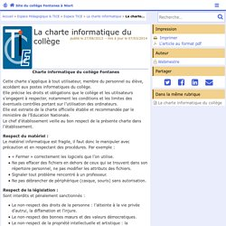 La charte informatique du collège - Site du collège Fontanes à Niort