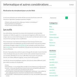 Réalisation du storyboard pour un site Web – Informatique et autres considérations …
