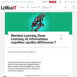Machine Learning, Deep Learning, AI, Informatique cognitive : quelles différences ?