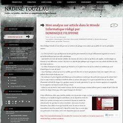 Mon analyse sur article dans le Monde Informatique rédigé par DOMINIQUE FILIPPONE