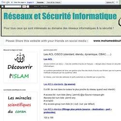 Réseaux et Sécurité Informatique: Les ACL CISCO (standard, étendu, dynamique, CBAC......)